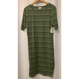 NWT LuLaRoe Olive Green Striped Julia Dress XL